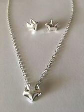 Trendy Silver Tone Fire Fox Stud Earrings And Necklace W/Fire Fox Pendant New