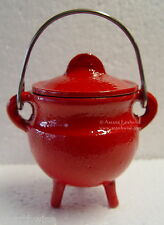 RED PLAIN CAST IRON CAULDRON WITH LID Wicca Pagan Witch Goth Herbs Incense