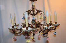 Vintage Brass & Porcelain Multi Color Roses 8 Arm Chandelier Made in Spain
