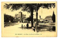 CPA 74 Haute-Savoie Annecy La Place Le Port et le Château animé bateau