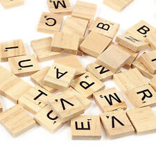 Lots 100Pc Funny Wooden Scrabble Tiles Letters Numbers Alphabet Board Game Toy