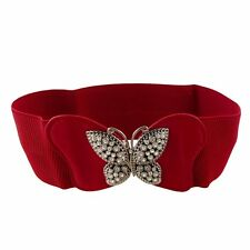 Woman Metal Butterfly Interlocking Buckle Red Textured Stretchy Waist Belt N3