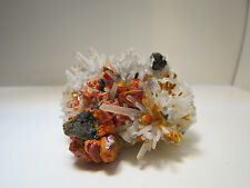 CRYSTALS OF REALGAR AND ORPIMENT ON QUARTZ AND SPHALERITE