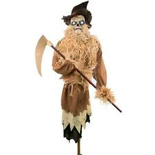 ANIMATED HALLOWEEN HARVESTER LIFESIZE SCARECROW 76 IN TALKS LIGHTS UP CREEPY