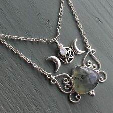 Prehnite & Rainbow moonstone Triple Moon Goddess Pentagram Double Necklace Wicca