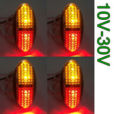 4PCS Red/Amber 4 Led Side Marker Tail Light Lamp Clearance Trailer Truck 12V 24V