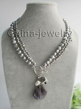 """P6632-3row 18"""" 22mm amethyst + white & gray baroque freshwater pearl necklace"""
