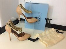 LANVIN NEW nude Court Point Shoes Leather Gold Chain Ankle Size 39 Uk 6 £695