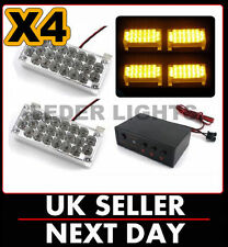 12v - 24v 4 x AMBER LED BREAKDOWN FLASHING GRILL LIGHTS LIGHT BAR RECOVERY UK