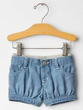 GAP Baby / Toddler Girl 12-18 Months Blue Denim Chambray Pull-On Shorts Jeans