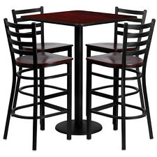 Restaurant Table Chairs 30' 'Mahogany Laminate with 4 Ladder Metal Bar Stools