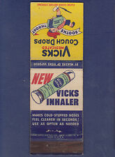 VINTAGE VICKS INHALER / VICKS MEDICATED COUGH DROPS MATCHBOOK COVER (2)