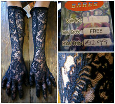 ~ BNWT QUALITY LONG BLACK LACE GLOVES STEAMPUNK GOTH HALLOWEEN SEXY RRP £12.99 ~