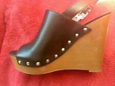 NEW! Circus By Sam EdelmanHigh Wood Wedge/Platform Leather Shoes Sz 9 Open-Front