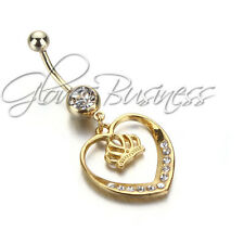Gold Plated Heart Surgical Body Piercing Jewelry Navel Belly Button Bar Ring