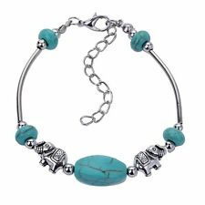 Chic Silver Plated Turquoise Elephant Animal chain Bracelet Bangle Xmas Gift