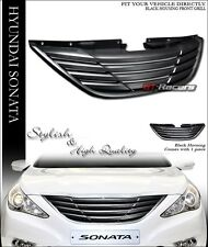 FOR 10-13 HYUNDAI SONATA BLK HORIZONTAL FRONT HOOD BUMPER GRILL GRILLE COVER ABS