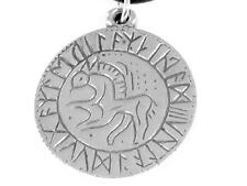 Runic Circle Horse Pewter Pendant, Norse, Viking, Odin. Protect on path of life