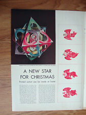 1954 Magazine New Christmas Tree Top Star Cutout 14 Pointed Star Angels