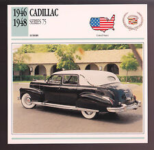 1946 1947 1948 Cadillac Series 75 Car Photo Spec Sheet Info Stat ATLAS CARD