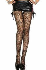 Black Stringy Spider Web Reinforced Toe Stretch Tights Sexy Lingerie P50070