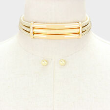 HOT Celeb Statement  Gold Tube 3 Layers Choker Necklace Set By Rocks Boutique