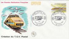 Enveloppe 1er Jour TRAIN LYON 08/09/1984 création du T.G.V. postal éd courbevoie