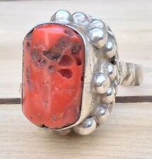 Vtg Native Mexican Coral Ring Modernist Sterling Silver Mexico Sz 6.75 Statement