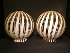 Mid Century Murano Striped Glass Swag Pendant Chandelier Lamp Globe Shade Venini