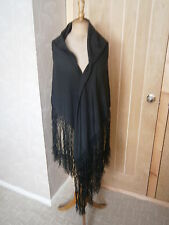 Huge antique black silk crinoline mourning shawl circa 1860