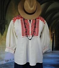 Red, Green & Cream Hand Embroidered Blouse Ejutla Mexico, Hippie, Boho, Cowgirl