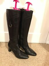 CLARKS - REAL LEATHER KNEE HIGH MID HEEL BOOTS BLACK - 5 1/2