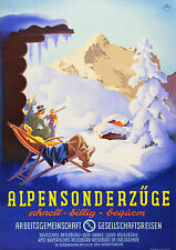 Alpensonderzüge, Ski Travel Poster Germany railway system 1936 11 x 17 Giclee