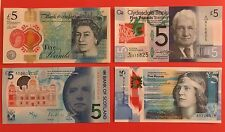 Set of 4 Polymer Plastic £5 Banknotes