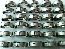 wholesale 50pcs English Lord's Prayer Men's Silver Etching stainless steel rings