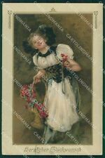 Little Girl and Flowers Levis CORNER CREASE Dondorf serie 182 postcard QT6256