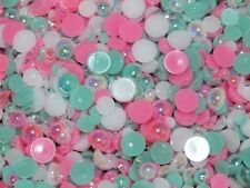 CandyCabsUK 50g Mixed Flatback Faux Half Pearls Cabochons BULK BUY Ice Cream Mix