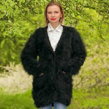 SUPERTANYA BLACK Hand Knitted Sweater Fuzzy V neck Long Mohair Cardigan ON SALE
