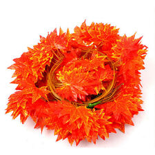 2X 2.3M Artificial Red Autumn Maple Leaf Garland Vine For Weddings Party Decors@