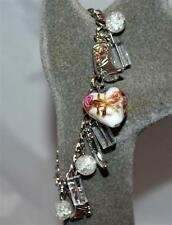 Cowboy Boot & Clear Lucite Beads with Puffy Rose Heart Charm Bracelet Adjustable