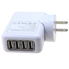 2A 4 USB Ports Travel Charger AC Adapter Wall Power Outlet Socket US Plug White