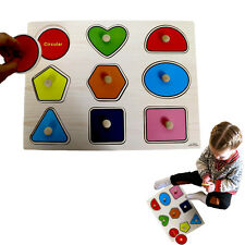 Dazzling Toys Wooden Peg Puzzle Toddler's Large Shapes Jigsaw Educational Puzzle