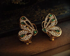 Vintage Butterfly Clip-On Earrings with Clear & Turmaline Green Crystals