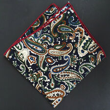 "NEW Vintage Navy Blue Paisley 10"" MEN'S HANDKERCHIEF COTTON POCKET SQUARES M23"