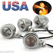 4PCS Motorcycle Bullet Turn Signal Chrome Metal Light For Harley Bobber Cafe