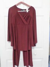 ANTHONY DESIGNS (HSN) 2-PIECE PANT SUIT W20,PETITE, 3/4 SLEEVE, WINE COLOR,
