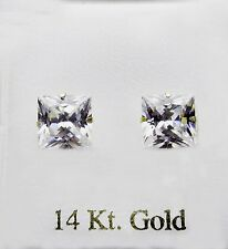 14KT YELLOW GOLD WITH 8X8 SQUARE CZ STUD EARRINGS