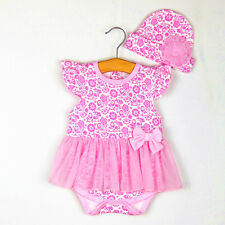2pcs Girl Baby Toddler Cap Hat+Romper Bodysuit Tutu Clothing Set Outfits 9-12M