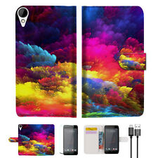 Colorful Cloud Wallet TPU Case Cover For HTC Desire 825 -- A021
