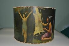 "Indian Maiden lamp shade 12"" x 12"" Drum, Rustic Cabin Decor"